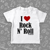 "Toddler shirts with saying ""I Love Rock And Roll"" in white."