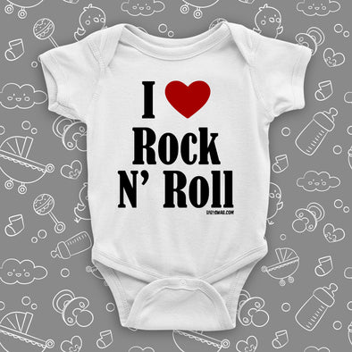 "The ""I Love Rock and Roll"" badass baby onesies in white."