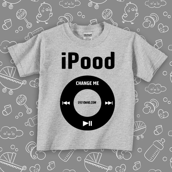 """I Pood"" toddler graphic tees in grey."