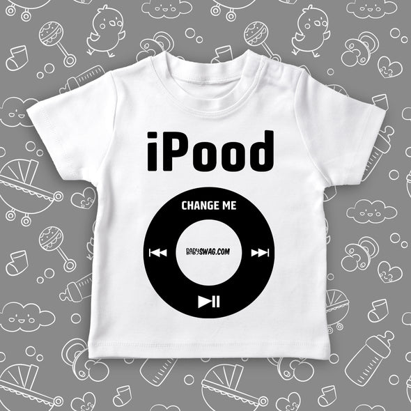 """I Pood"" toddler graphic tees in white."