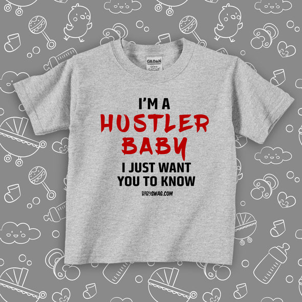 "Toddler girl shirts with saying ""I'm A Histler Baby"" in grey."