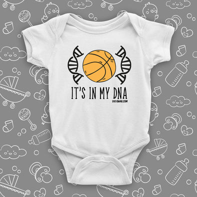 "Cute baby boy onesie with saying ""It's In My DNA"" in white."