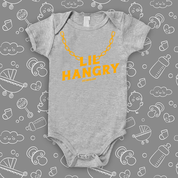 """Lil' Hungry"" cool baby onesies in grey."