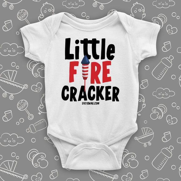 "Cute baby onesie with saying ""Little Fire Cracker"" in white."