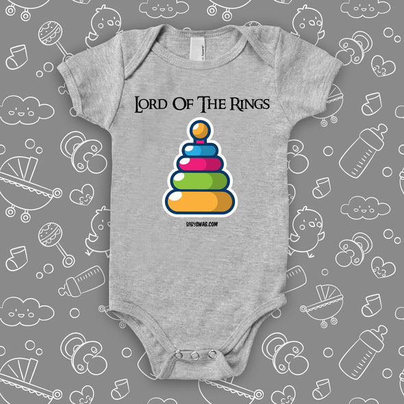 "The ""Lord Of The Rings""graphic baby onesies in grey."