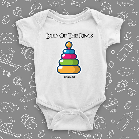 "The ""Lord Of The Rings"" graphic baby onesies in white."