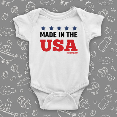 "Cool baby onesie with saying ""Made In The USA"" in white"