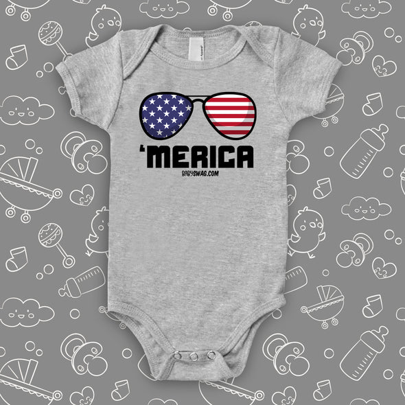 "Funny infant onesie with saying ""'Merica"" in grey."
