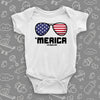 "Funny infant onesie with saying ""'Merica"" in white"