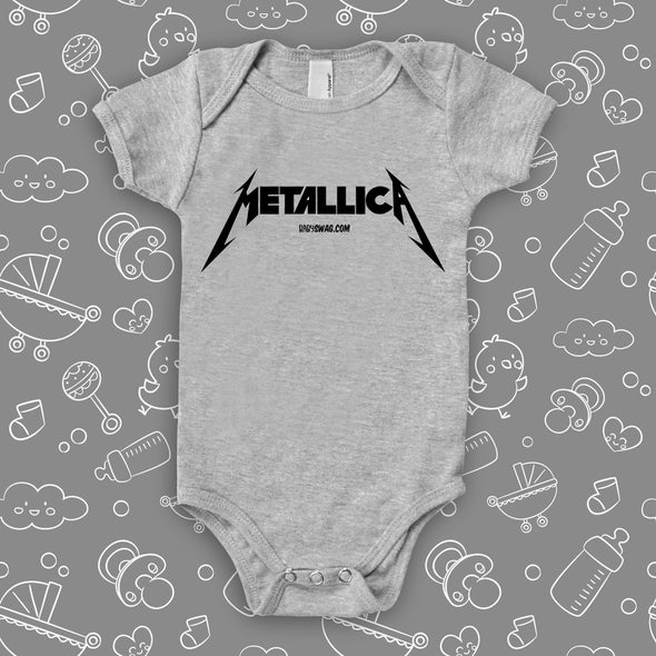 "The ""Metalica"" cool baby onesies in grey."