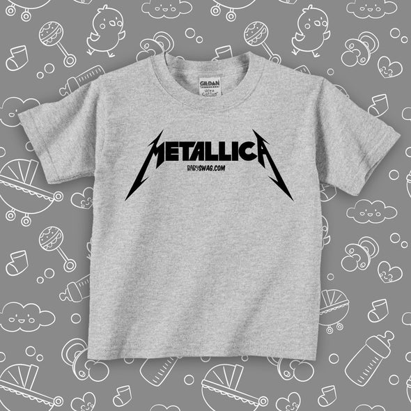"""Metalica"" toddler shirt in grey."