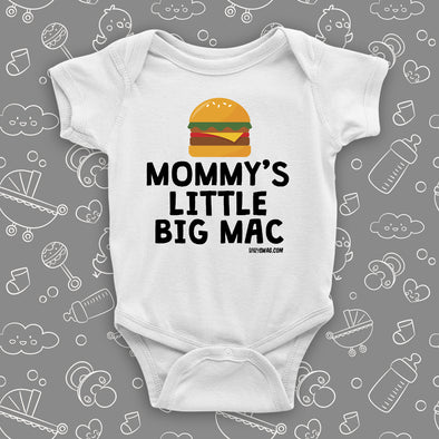The ''Mommy's Little Big Mac'' cute baby onesie in white