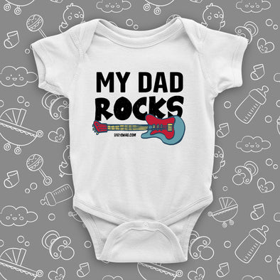"Cool baby onesies with saying ""My Dad Rocks"" in white."