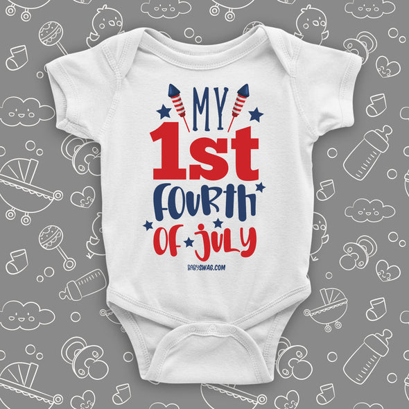 "Graphich baby onesies with saying ""My First 4th of July"" in white."