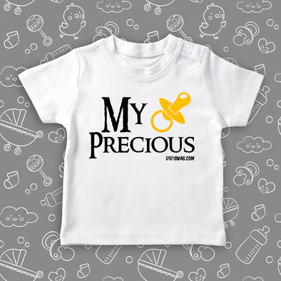 "The ""My Precious"" funny toddler shirt in white."