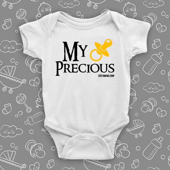 "The ""My Precious"" baby onesies in white."