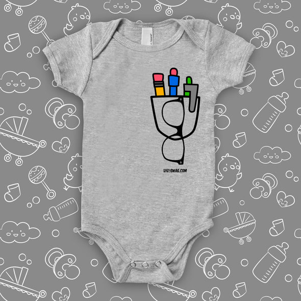 """The Nerdy Pocket"" cute baby onesies in grey."