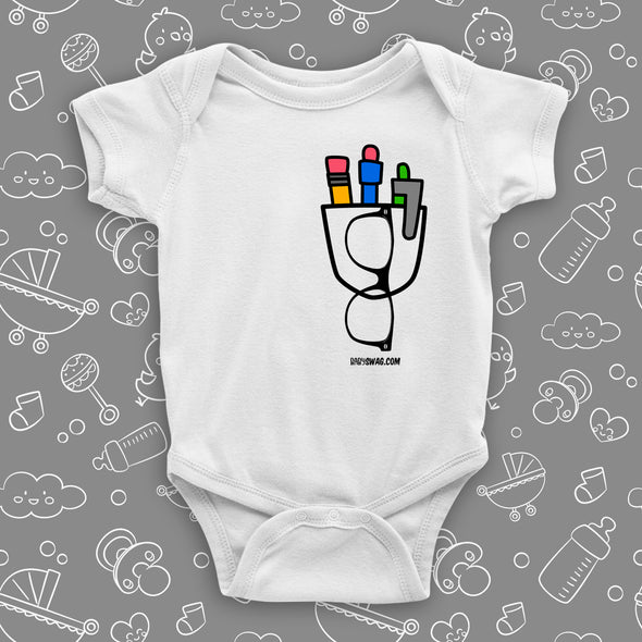 "The ""Nerdy Pocket"" cute baby onesies in white."
