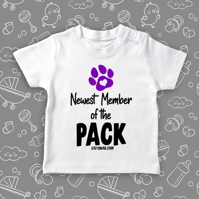"Toddler shirts with saying ""Newest Member Of The Pack"" in white."