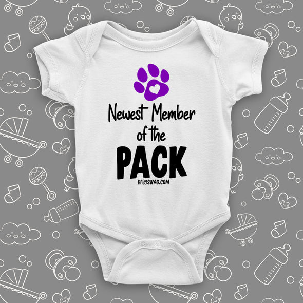 "The ""Newest Member of the Pack"" hilarious baby onesie in white."