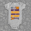 "Rock n' roll onesies with saying ""Not Today. I'm Busy Jammin' With My Dad"" in grey."