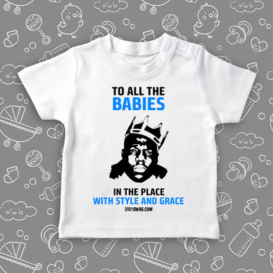 "The ""Notorious Big Biggie"" toddler graphic tee in white."