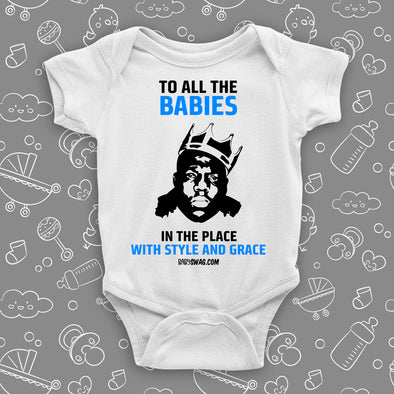 "The ""Notorious Big Biggie"" unique baby onesies in white."