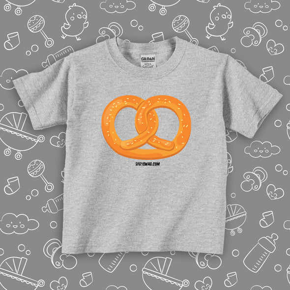 "The ""Pretzel"" cute toddler shirt with an image of a pretzel in grey."
