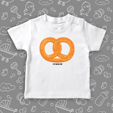 "The ""Pretzel"" cute toddler shirt with an image of a pretzel in white."