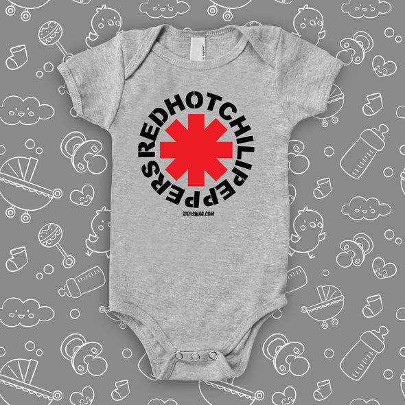 The ''Red Hot Chilli Peppers'' cool baby onesies in grey.
