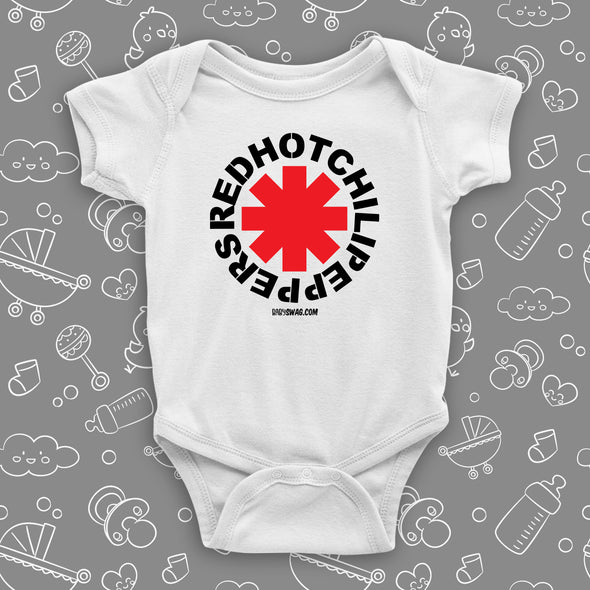 The ''Red Hot Chilli Peppers'' cool baby onesies in white.