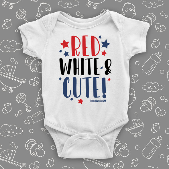 "Cute baby onesies with a saying ""Red, White & Bows!"" in white."