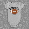 "The ""Rookie""unique baby onesies in grey."