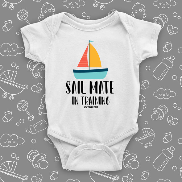 The ''Sail Mate In Training'' swag baby clothes in white.