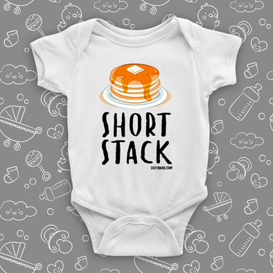"Cute baby onesies with saying ""Short Stack"" in white."