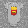 The ''Small Fry'' graphic baby onesie in gray