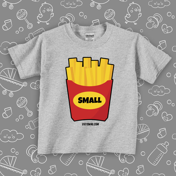 """Small Fry"" toddler graphic tee in grey."