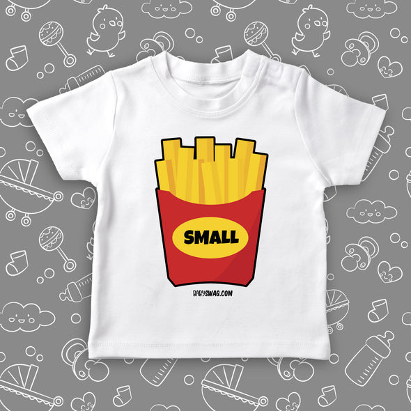 """Small Fry"" toddler graphic tee in white."