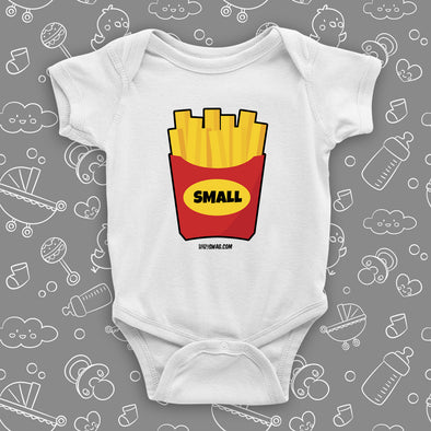 The ''Small Fry'' graphic baby onesie in white