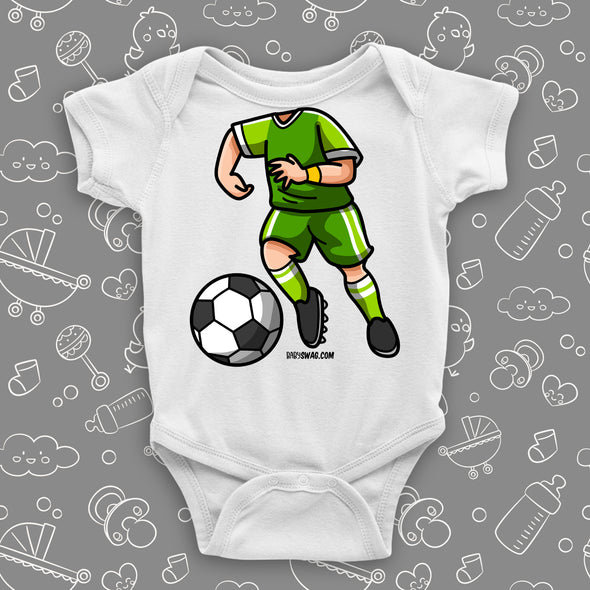 A graphic baby boy onesie with soccer bobblehead image, in color white.