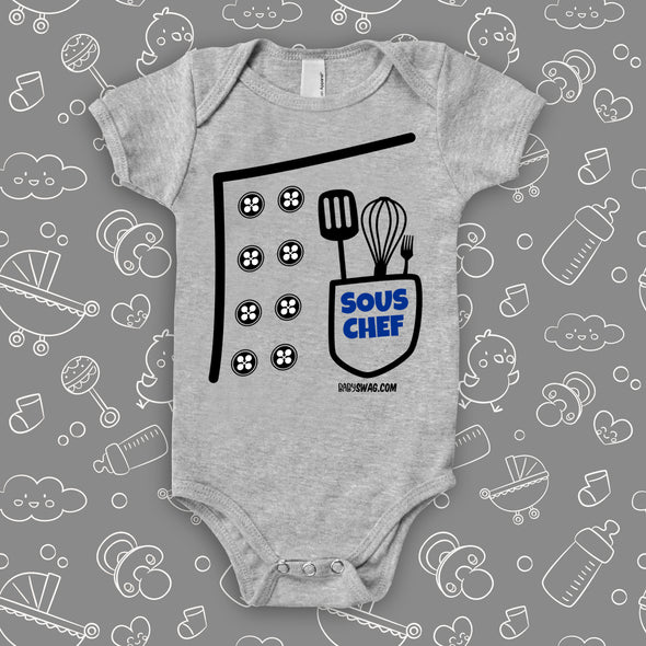 The ''Sous Chef'' cool baby onesies in grey.