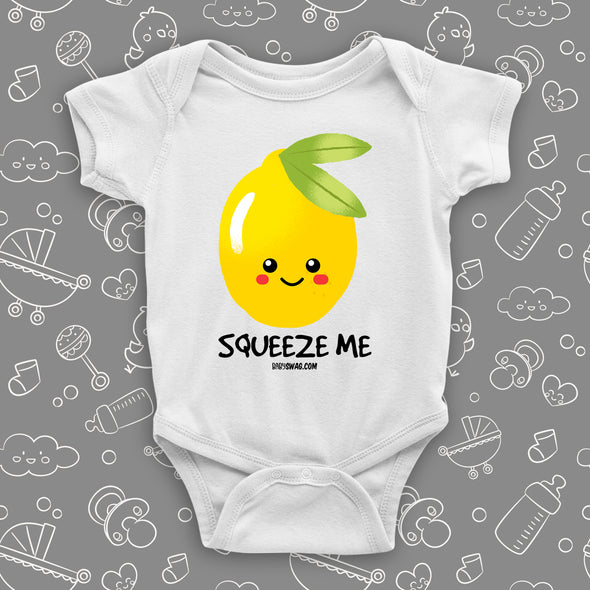 The ''Squeeze me'' funny baby clothes in white.