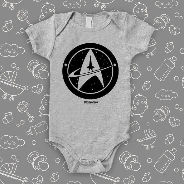 The ''Star Trek'' cute baby onesie in grey.