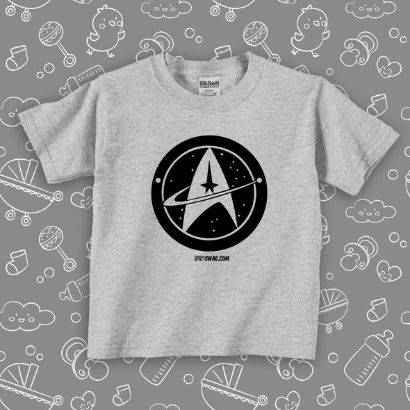 "The ""Star Trek"" funny toddler graphic tees in grey."