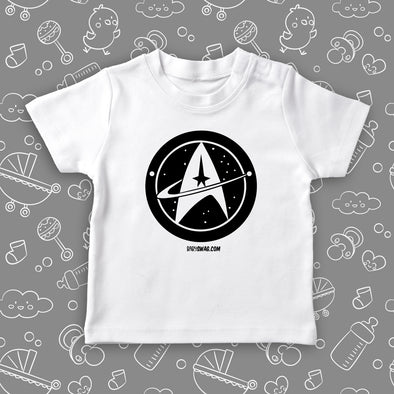 "The ""Star Trek"" funny toddler graphic tees in white."