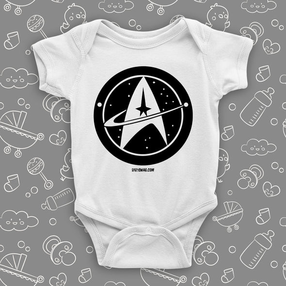 The ''Star Trek'' cute baby onesie in white.