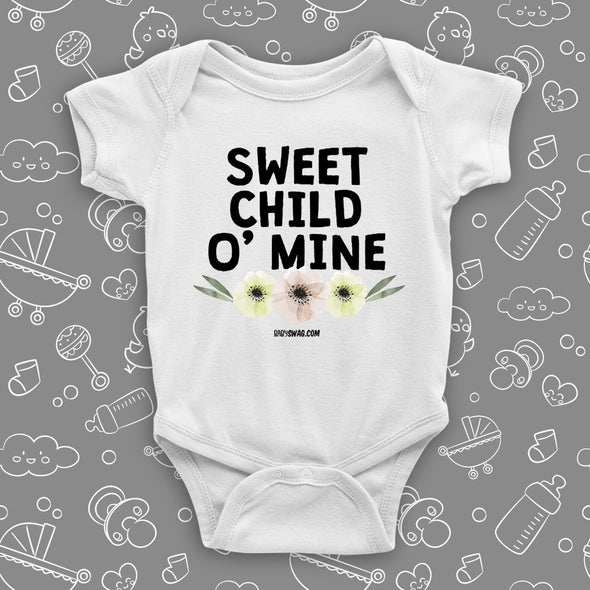 "The ""Sweet Child O' Mine"" unique baby onesies in white"