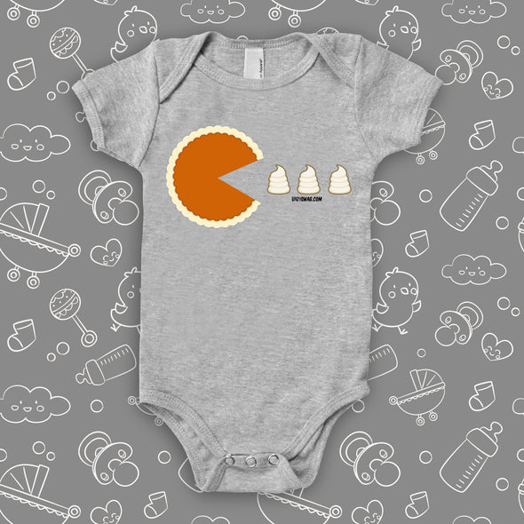 "The ""Thanksgiving Packman"" funny baby onesies in grey."