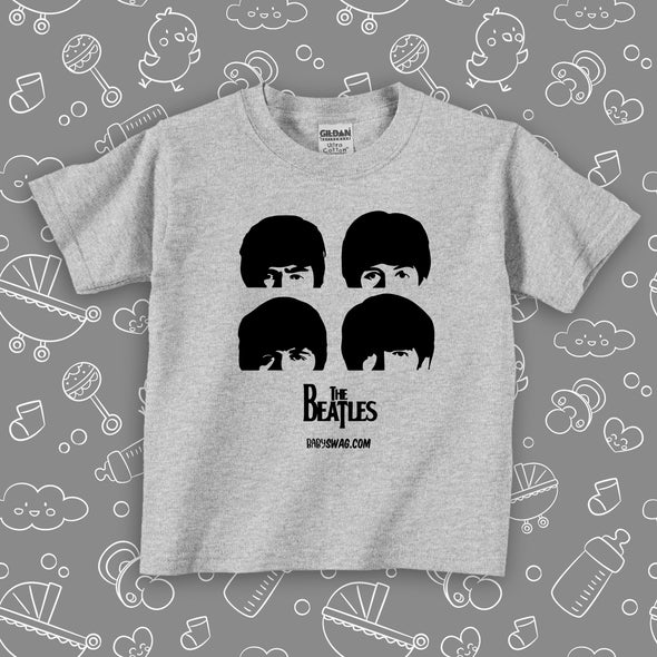 "Toddler graphic tees with the caption ""The Beatles"" in grey."