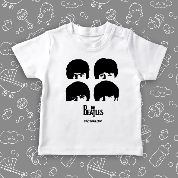 "Toddler graphic tees with the caption ""The Beatles"" in white."